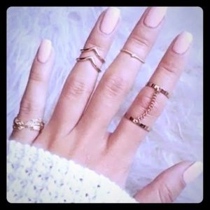 Jewelry - Gold Tone 6pcs Urban Knuckle & Midi Stacking Rings